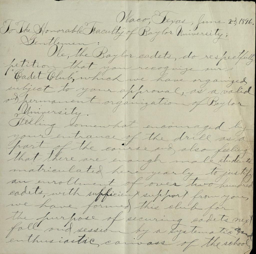Baylor Cadets Letter, 1896