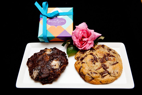 Rocky Road and Chocolate Chunk Cookies with a small box of chocolate bonbons