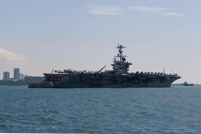 USS John C. Stennis (CVN 74) sits anchored off the coast of Kota Kinabalu