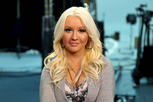 Christina Aguilera looking at the camera