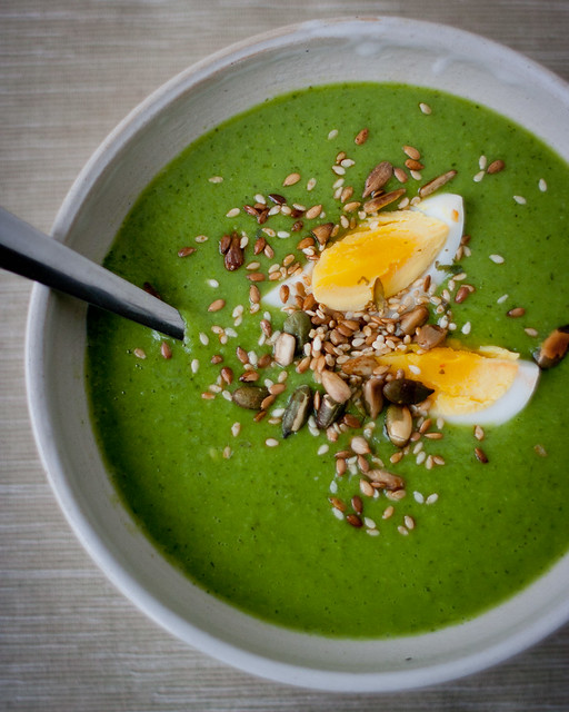 Pea and Watercress Soup with Boiled Egg