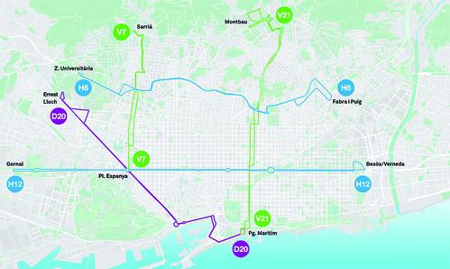 Mapa de les cinc noves línies de la Nova xarxa de Bus