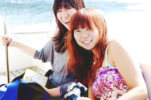 my girls on the boat to kumamoto.