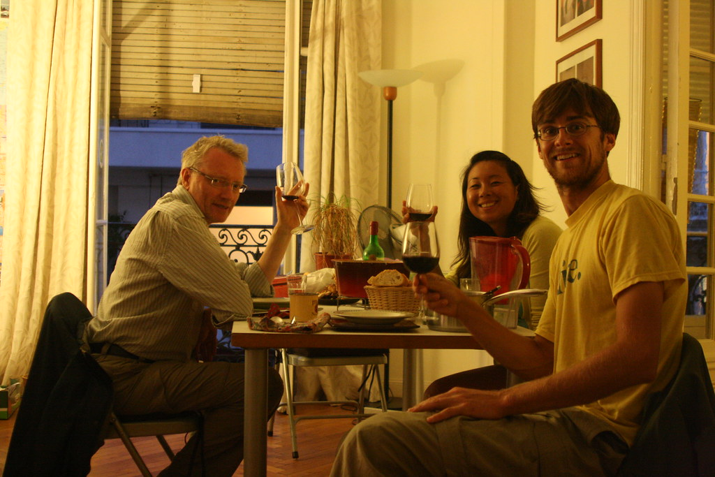 IMG_6833 France, Nice - Lindsey and Peter with their host, Brendan, who is originally from the UK but has lived in Nice for 16 or so years. He generously opened his home to us and shared two dinners with us with sustainability and global cooperation were
