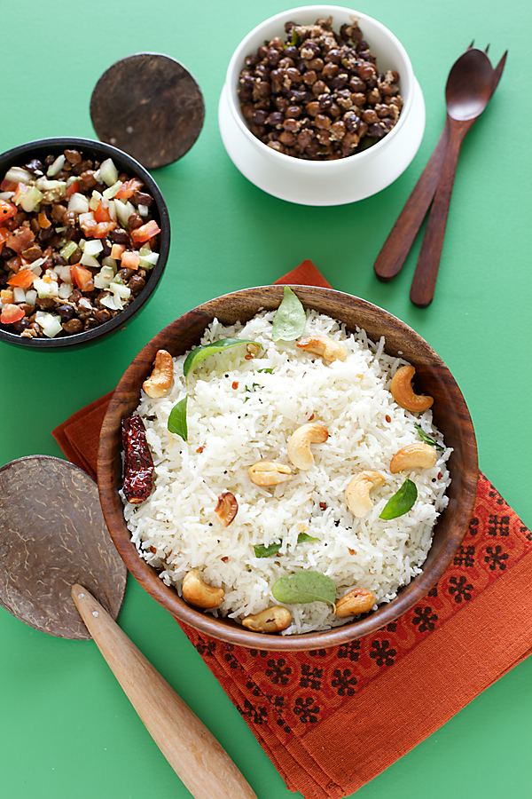 South Indian Coconut Rice With Brown Chickpea Salad