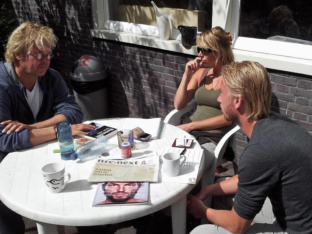 Overleg bij Knowmads met Pieter, Sander en Sabine