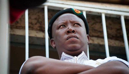 Expelled ANC Youth League President Julius Malema at Grootvlei gold mine in east rand where workers have not been paid in two years. Malema condemned the ANC leadership for protecting mineowners against the workers. by Pan-African News Wire File Photos