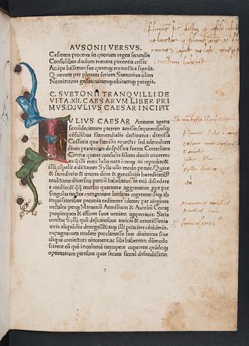Illuminated initial in Suetonius Tranquillus, Gaius: Vitae XII Caesarum