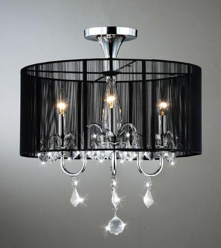 black drum shade 3 light crystal chandelier lamp thi