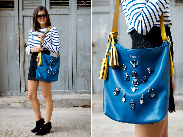 diy embellished coach duffle bag