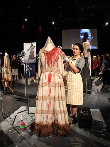Costumer applying blood