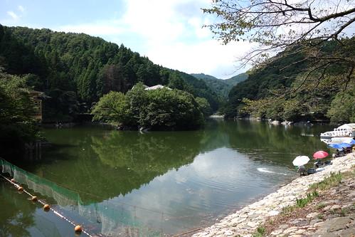 かなり水位が下がった鎌北湖