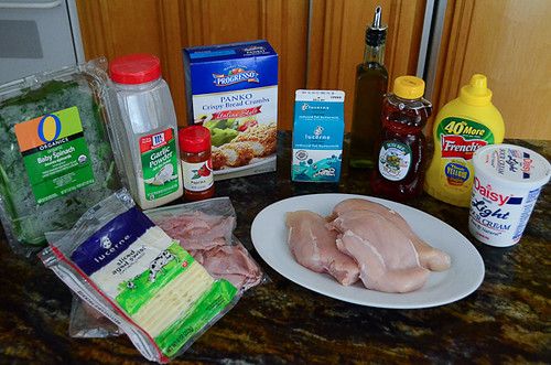All the ingredients required to make Chicken Cordon Bleu Sandwiches.