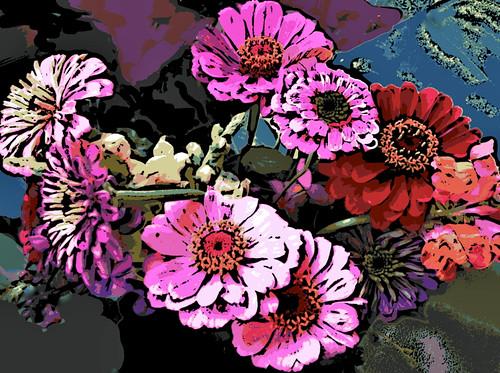 Sleight-of-Hand Bouquet (Digital Woodcut) by randubnick