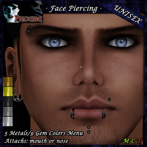 P Unisex Face Piercing ~ Serie K6 ~ 5 Metals & 9 Gem Colors