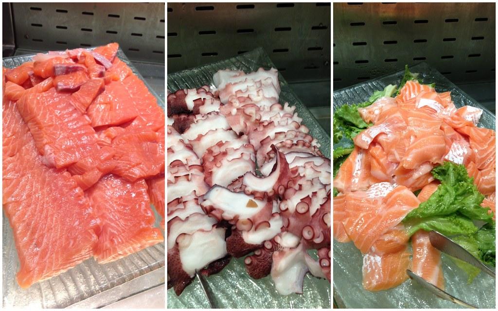 Kiseki Japanese Buffet Restaurant: Ebi, Salmon, Tuna, Octopus, Jellyfish, Scallop, Marinated Top Shell Selection