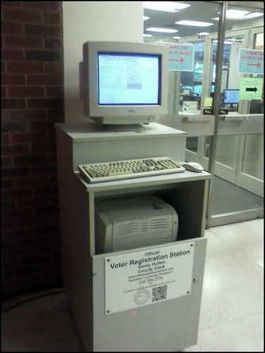 Image of the Voter Registration Machine in the Lobby of the Undergrad Library