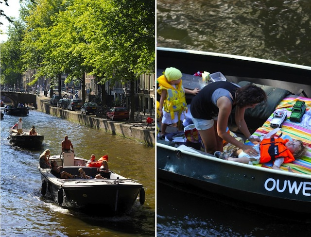 Family boating in Amsterdam