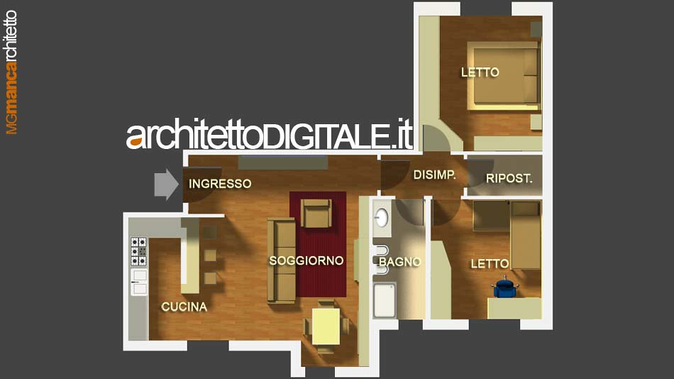 Progetto di interni di un appartamento di 75 mq pianta a for Progetto arredo casa on line