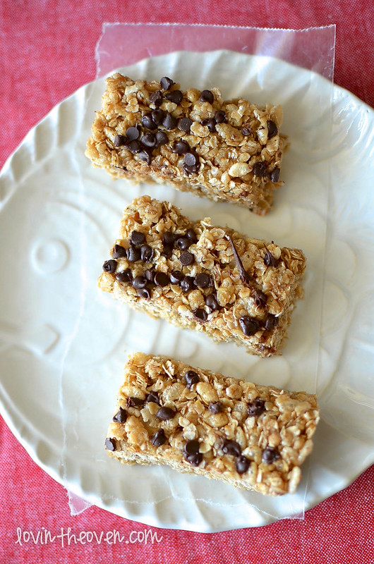 No Bake Chocolate Chip Granola Bars - Lovin' From The Oven