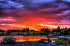 Sunset in Purple and Red, William Pond Park, Carmichael CA (C61_2783-2785-cus-LR-NS-PSa)