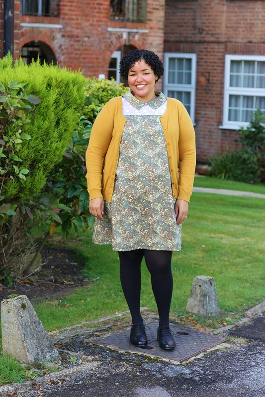 Final version of Simplicity 8670 in Liberty cotton and Japanese lace
