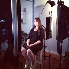 Lacey having her tintype portrait taken.