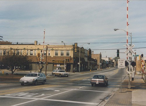 Downtown Westmont Illinois.  November 1989. by Eddie from Chicago