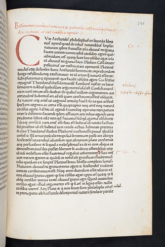 Manuscript heading in Bessarion, Johannes, Cardinal: Adversus calumniatorem Platonis