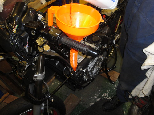 Filling radiator with Bluecol and de-ionised water
