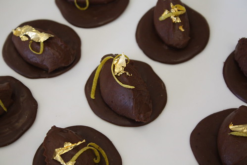 Goat's cheese ganache with gold leaf