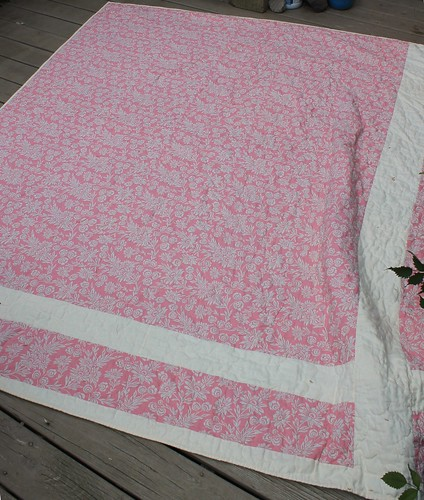 Back of Linen Wedding Quilt