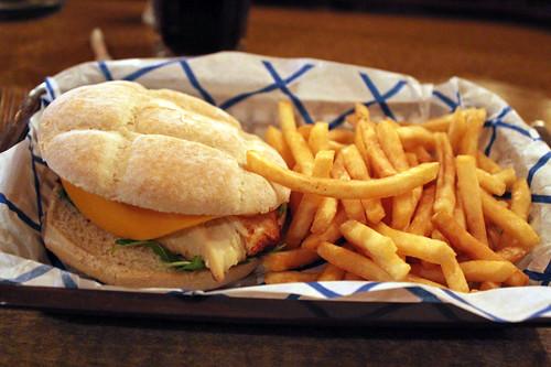chicken cheeseburger & fries