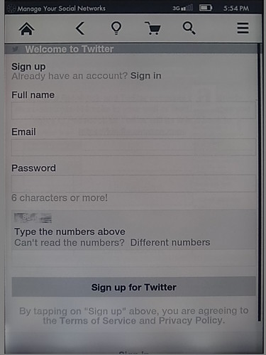 Sign up for twitter