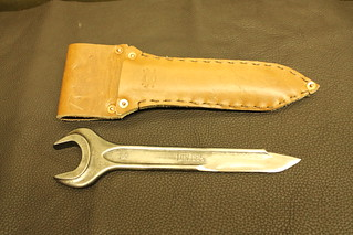 Wrench Knife outside of leather sheath