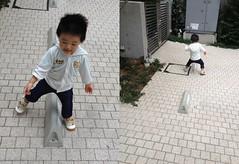 駐車場の車止めをまたいで歩きます (2012/10/9)