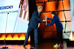U.S. Secretary of State John Kerry prepares to present the award for 'Female Athlete of the Olympic Games' at the U.S. Olympic Committee Team USA Award Show, at Georgetown University, in Washington, D.C. on September 28, 2016. [State Department Photo/ Public Domain]