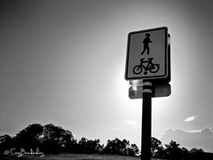 #sign #cycle #bike #pedestrian #bicycle #sky #bw #photography