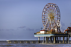 Galveston Pleasure Pier - Ferris Wheel Over Water