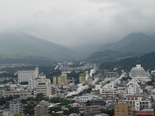Beppu, with steam vents scattered across the city