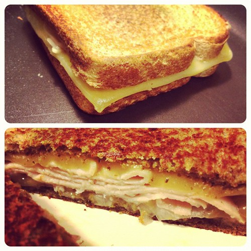 Last night's #dinner #recipe - #grilledcheese #sandwich with #pesto, #turkey, #onions, and #gouda - it was #delicious!