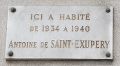 Photo of Antoine de Saint-Exupery white plaque
