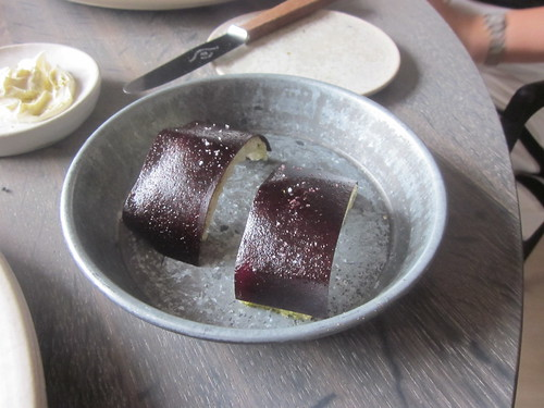 Noma - Copenhagen - August 2012 - Crispy Pork Skin and Black Currant (I think)