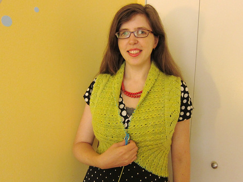 Chartreuse Georgina Cardigan progress - front