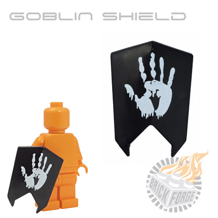 Goblin Shield - Black (White Hand Print)