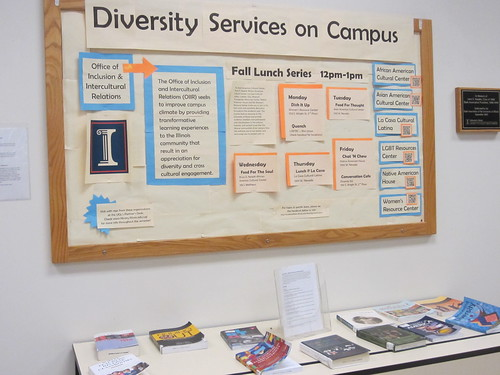 Diversity Services Display is downstairs in the lower lobby of the UGL.