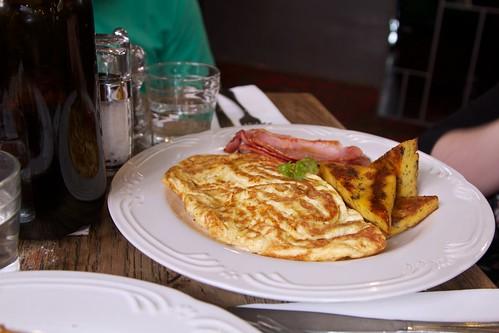 Omelette du jour with herb polenta