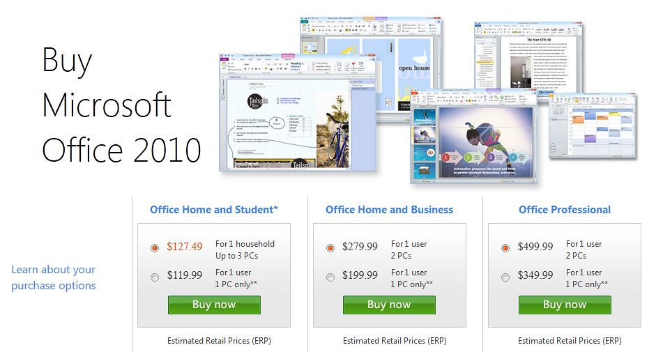MS Office prices comparison