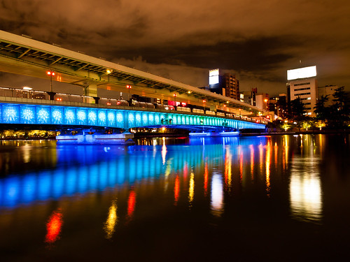 bridge blue light red japan architecture night river lumix landscapes nightview gf2