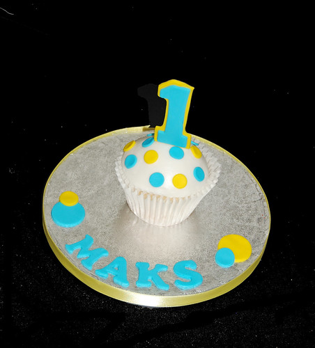 Yellow and Blue 1st Birthday Smash Cake
